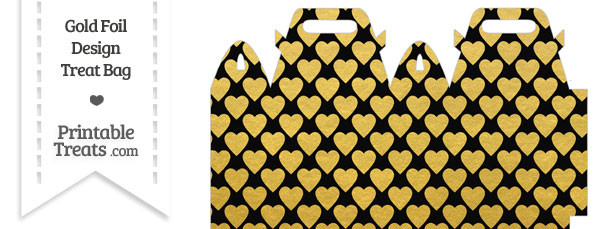 Black and Gold Foil Hearts Treat Bag