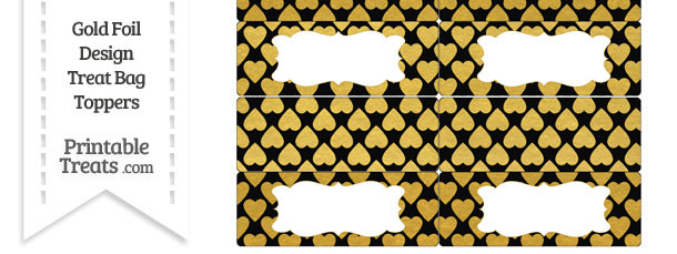 Black and Gold Foil Hearts Treat Bag Toppers