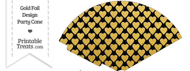 Black and Gold Foil Hearts Treat Cone