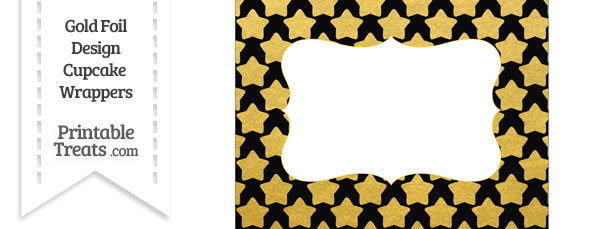 Black and Gold Foil Stars Chocolate Bar Wrappers