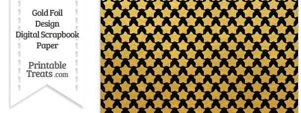 Black and Gold Foil Stars Digital Scrapbook Paper