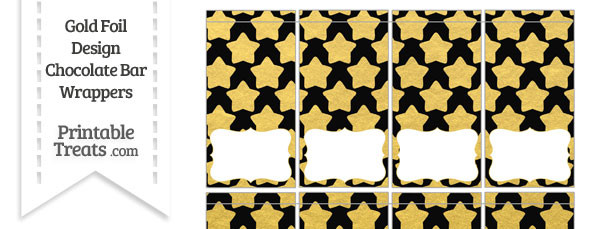 Black and Gold Foil Stars Mini Chocolate Bar Wrappers