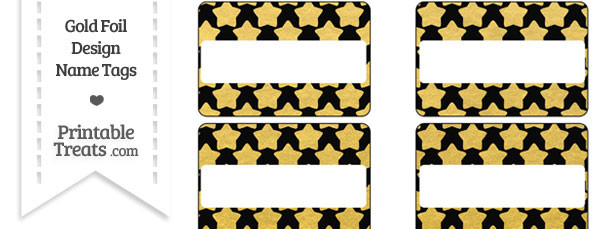 Black and Gold Foil Stars Name Tags