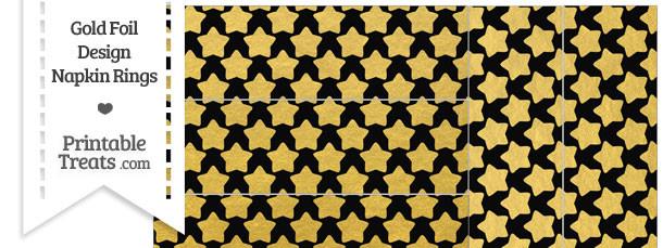 Black and Gold Foil Stars Napkin Rings