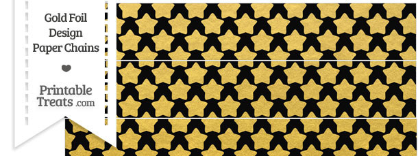 Black and Gold Foil Stars Paper Chains