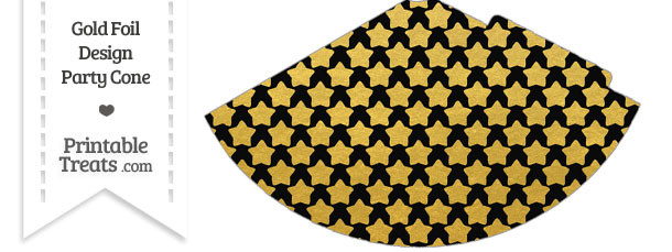 Black and Gold Foil Stars Party Cone