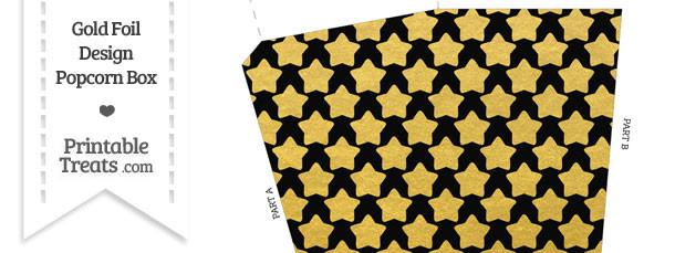 Black and Gold Foil Stars Popcorn Box