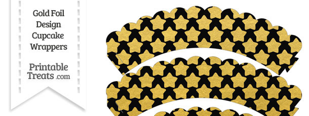 Black and Gold Foil Stars Scalloped Cupcake Wrappers