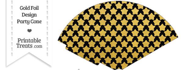 Black and Gold Foil Stars Treat Cone