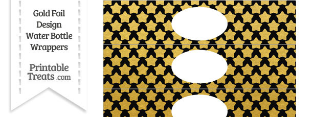 Black and Gold Foil Stars Water Bottle Wrappers