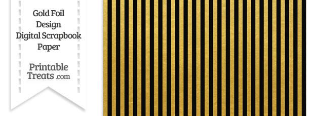 Black and Gold Foil Stripes Digital Scrapbook Paper