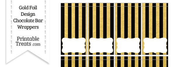 Black and Gold Foil Stripes Mini Chocolate Bar Wrappers