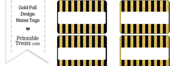 Black and Gold Foil Stripes Name Tags