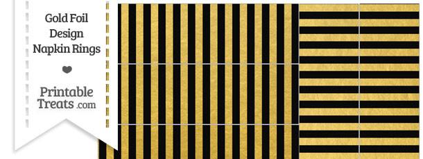 Black and Gold Foil Stripes Napkin Rings