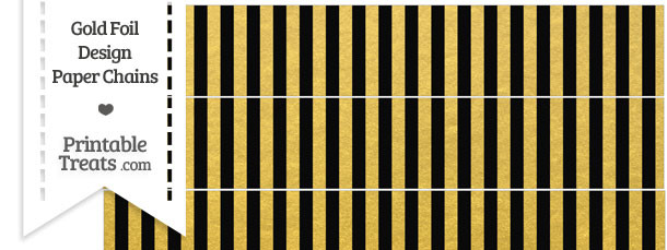Black and Gold Foil Stripes Paper Chains