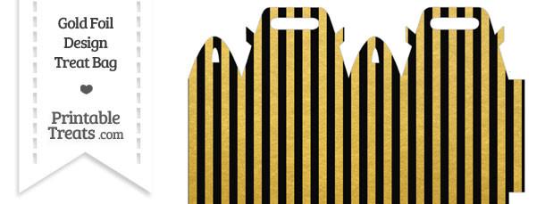 Black and Gold Foil Stripes Treat Bag