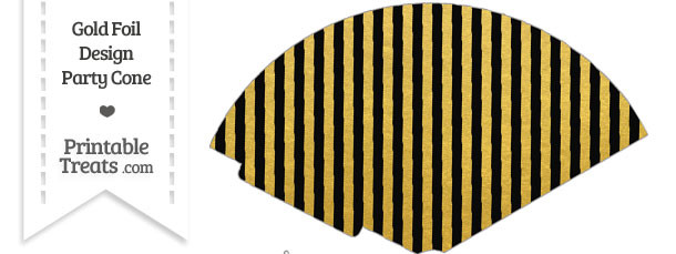 Black and Gold Foil Stripes Treat Cone