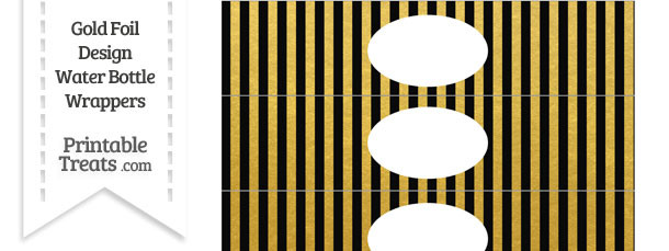 Black and Gold Foil Stripes Water Bottle Wrappers