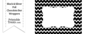 Black and Silver Foil Chevron Chocolate Bar Wrappers