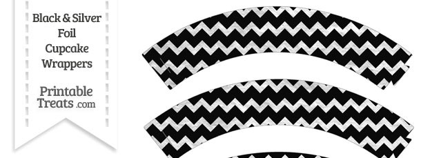 Black and Silver Foil Chevron Cupcake Wrappers