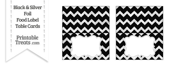Black and Silver Foil Chevron Food Labels