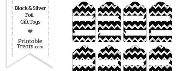 Black and Silver Foil Chevron Gift Tags