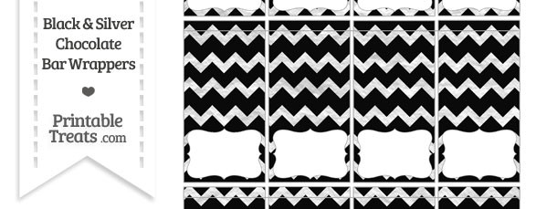 Black and Silver Foil Chevron Mini Chocolate Bar Wrappers