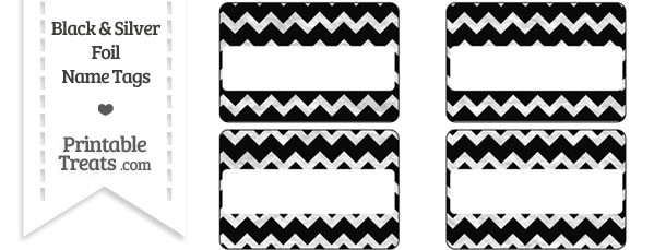 Black and Silver Foil Chevron Name Tags