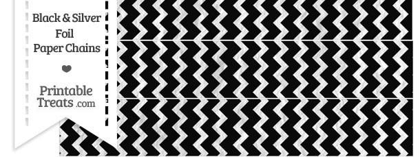 Black and Silver Foil Chevron Paper Chains