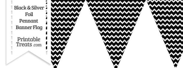 Black and Silver Foil Chevron Pennant Banner Flag