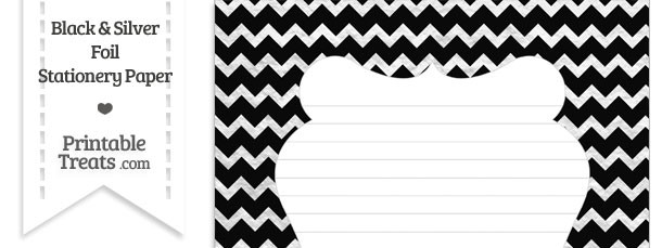 Black and Silver Foil Chevron Stationery Paper