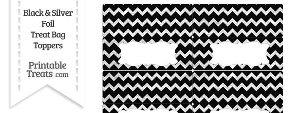 Black and Silver Foil Chevron Treat Bag Toppers