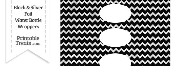 Black and Silver Foil Chevron Water Bottle Wrappers