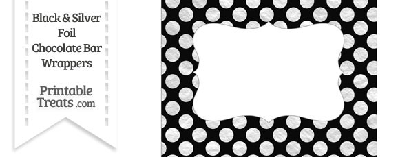 Black and Silver Foil Dots Chocolate Bar Wrappers