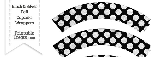Black and Silver Foil Dots Cupcake Wrappers