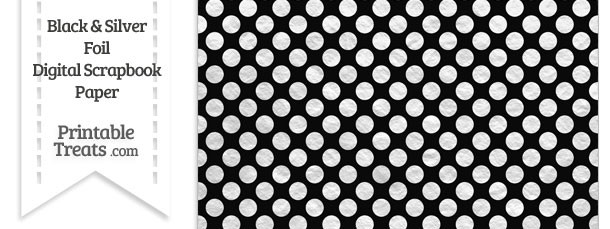 Black and Silver Foil Dots Digital Scrapbook Paper
