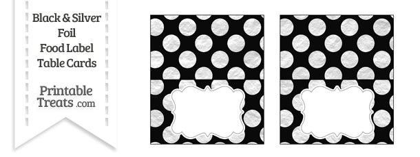 Black and Silver Foil Dots Food Labels