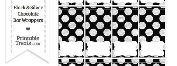 Black and Silver Foil Dots Mini Chocolate Bar Wrappers