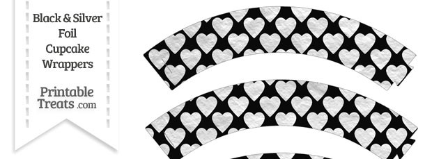 Black and Silver Foil Hearts Cupcake Wrappers
