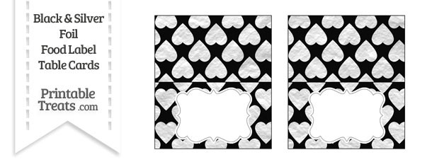 Black and Silver Foil Hearts Food Labels