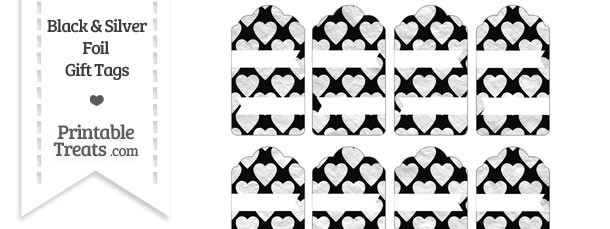 Black and Silver Foil Hearts Gift Tags