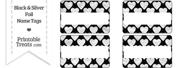 Black and Silver Foil Hearts Name Tags