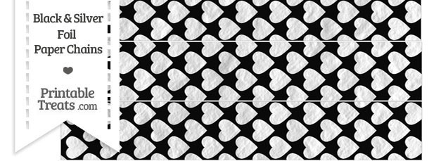 Black and Silver Foil Hearts Paper Chains