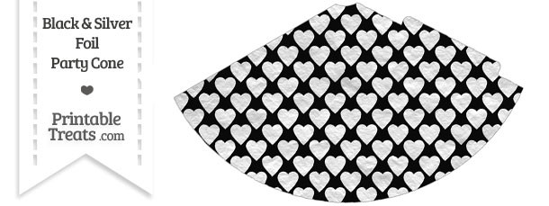 Black and Silver Foil Hearts Party Cone