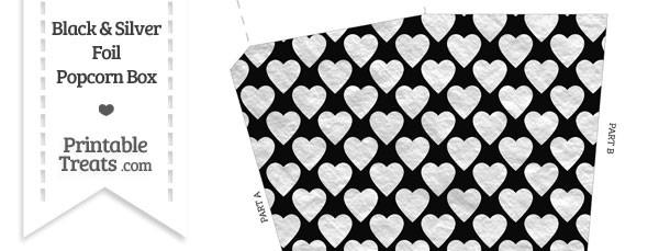 Black and Silver Foil Hearts Popcorn Box