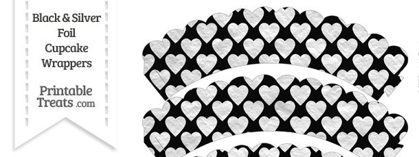 Black and Silver Foil Hearts Scalloped Cupcake Wrappers
