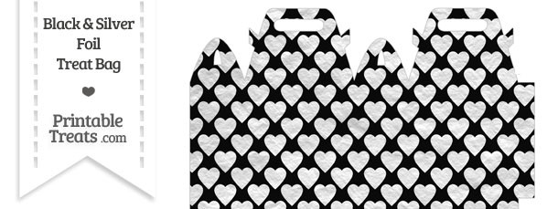 Black and Silver Foil Hearts Treat Bag