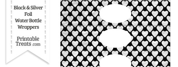 Black and Silver Foil Hearts Water Bottle Wrappers