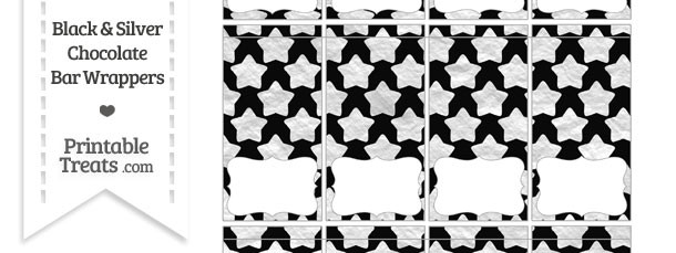 Black and Silver Foil Stars Mini Chocolate Bar Wrappers