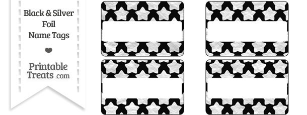 Black and Silver Foil Stars Name Tags